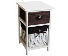 nxtbuy Kommodenschrank aus Holz in Weiß 30 x 35 x 51 cm - Vintage Schränkchen/Korbregal mit 1 Weidenkörbchen und 1 Schublade - Sideboard aus Echtholz