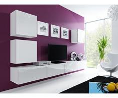 Jadella Wohnwand Vigo 22 Hochglanz Hängeschrank Lowboard Cube, Farbe:weiß matt/weiß Hochglanz