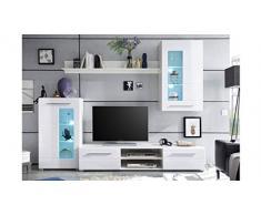 Möbel Akut Wohnwand Enrique 1 Wohnzimmer Anbauwand Front weiß Hochglanz