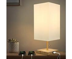 Albrillo Tischlampe - E27 Tischleuchte mit 2 USB Ladeanschlüssen, Modern Nachttischlampe aus Stoff, Quadratisch Schreibtischlampe mit Zugschalter und E27 Fassung, für Wohnzimmer, Schlafzimmer und Büro