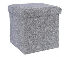 Songmics 38 cm Cube Faltbarer Sitzhocker Belastbar bis 300 kg Imitiertes Leinen Lichtgrau LSF27H