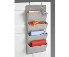 mDesign Hängeregal zum über die Tür hängen – Schrank-Organizer aus Stoff mit 4 Fächern – hängendes Türregal für Handtaschen, Schals und andere Accessoires – grau