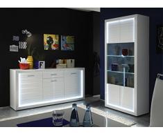 trendteam Wohnzimmer Vitrine Schrank Wohnzimmerschrank Starlight, 90 x 204 x 41 cm in Korpus Weiß, Front Weiß Hochglanz mit Rillenoptik mit LED Glasbodenbeleuchtung in Kalt- Weiß