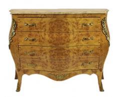 Casa Padrino Barock Kommode Ahornfarben mit cremefarbener Marmorplatte - Ludwig XIV Empire Kommode