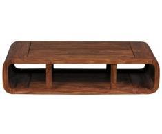 WOHNLING Couchtisch Massiv-Holz Sheesham 120 cm breit Wohnzimmer-Tisch Design dunkel-braun Landhaus-Stil Beistelltisch Natur-Produkt Wohnzimmermöbel Unikat modern Massivholzmöbel Echtholz rechteckig