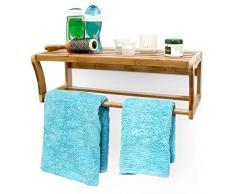 Relaxdays Wandregal mit Handtuchstange aus Bambus HBT 20 x 60 x 26 cm Badregal zur Wandmontage als Handtuchhalter mit Ablage Wandhandtuchhalter aus Holz als Hängeregal für das Bad, natur