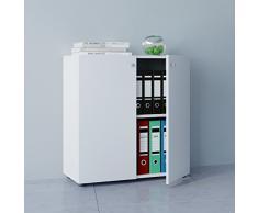 VCM Büroschrank Aktenschrank Bücherregal Universal Ordner Schrank Regal Weiß 70 x 70 x 39 cm Vandol Mini