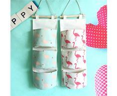Inwagui Hängeorganizer Hängende Kombination mit 3 Tasche Wand Tür Wandschrank Speicher Beutel Baumwolltuch Hängeaufbewahrung - Flamingo B
