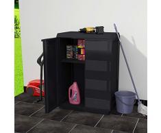 vidaXL Gartenschrank mit 1 Regal Schwarz Kunststoffschrank Werkzeugschrank