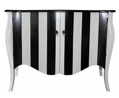 Casa Padrino Barock Kommode Schwarz/Weiß Streifen 120cm Mod - Antik Stil Möbel