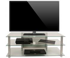 VCM TV Rack Lowboard Konsole LCD LED Fernsehtisch Möbel Bank Glastisch Tisch Schrank Aluminium Klarglas Zumbo