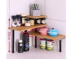 LXQGR Küchen-Eckregal Mesa-Gewürz-Gestell-drehbares Regal mit Haken-Lagerregal 43 * 43 * 39cm Home-2