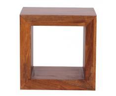WOHNLING Standregal Massivholz Sheesham 44cm hoch Cube Regal Design Holzregal Natur-Produkt Beistelltisch Landhaus-Stil dunkel-braun Wohnzimmer-Möbel Unikat Echtholz Couchtisch viereckig Anstelltisch