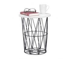 Relaxdays, weiß-schwarz runder Beistelltisch mit Metallkorb, dekorativer Couchtisch, Wohnzimmertisch modern, 42cm hoch, Design A