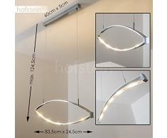 LED Pendelleuchte Alcove, gebogene Hängelampe aus Metall in Chrom, Höhe max. 124,5 cm (verstellbar), 5 x 4 Watt, 1200 Lumen, 2700 Kelvin (warmweiß), Hängeleuchte m. verstellbaren Leuchtbögen