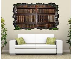 3D Wandtattoo alte Bücher Buch Regal antik Bibliothek selbstklebend Wandbild sticker Wohnzimmer Wand Aufkleber 11K143, Wandbild Größe F:ca. 162cmx97cm