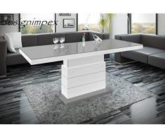 couchtisch h 333 wei grau hochglanz h henverstellbar ausziehbar. Black Bedroom Furniture Sets. Home Design Ideas