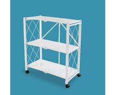 CLEAVE WAVES Klappregal Abstellregale, 3 Regal mit schweren Rädern Metal Roller Utility Vehicle, für Badezimmer Küchen Büros Bibliotheken Salons und Spas,White