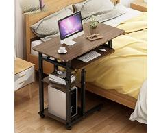 KTDZ Laptop-Schreibtisch, Beistelltisch Tragbarer Mobiler Schreibtisch Schlafzimmer-Seitenschrank Couchtisch BüCherregal Sofa-Beistelltisch Mit Tastatur HöHenverstellbar