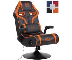 CLP Gaming Soundsessel Sonoma Kunstleder I Sessel Mit 2.1-System Für Gaming Und Musik I Drehsessel Mit Bluetooth schwarz/orange