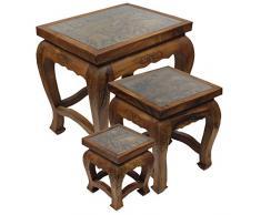 Deko-Tischchen Beistelltischchen Hocker Glastisch Nachttisch Opiumtisch mit Glas Schnitzereien Elefant Asien Hellbraun Braun ca. 23 cm