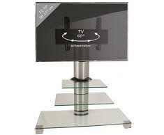 VCM TV Rack Lowboard Konsole Fernsehtisch TV Möbel Standfuß Glastisch Tisch Phono Aluminium Glas Klarglas Amalo Mini