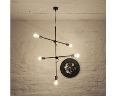 Edison Vintage Hängeleuchte Pendellampe 5-flamg Stangen verstellbar Deckenlampe Ediston Steam Punk Retro Pendelleuchte Hängelampen Innen Wohnzimmer Küche