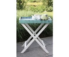 Tablett mit Ständer France Shabby Design Grilltisch Tisch Serviertablett Beistelltisch klappbar 60x40x70 cm