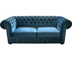Casa Padrino Chesterfield 2er Sofa in Hell Blau 180 x 100 x H. 80 cm Chesterfield Schlafsofa