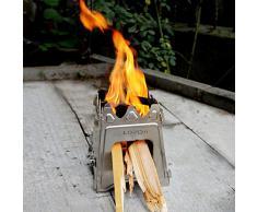 Lixada Tragbar Edelstahl Leichte Holzofen Wood Burning Verfestigte Kochen im Freien Picknick BBQ Camping Für Familien und Gruppen