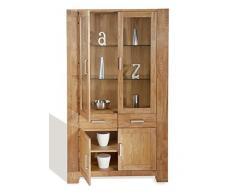 SIT-Möbel Zeus 1604-01, Vitrine mit 2 Schubladen & 4 Türen, Wildeiche geölt, naturfarbig, 106 x 44 x 190 cm