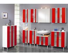 Kesper Badmöbel 6235000213801001 Midischrank Trento, 2 Türen, 111 x 65 x 31,3 cm, weiß/rot