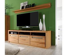 trendteam Wohnzimmer Lowboard Fernsehschrank Fernsehtisch Zino, 178 x 59 x 50 cm in Korpus Kernbuche Dekor, Front Kernbuche Massiv mit drei offenen Fächer