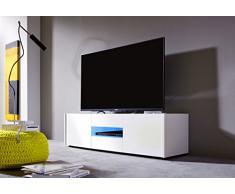 trendteam IM TV Möbel Lowboard TV Unterteil | Weiß Hochglanz | 130 x 37 cm
