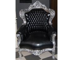 Casa Padrino Barock Sessel King Schwarz/Silber Lederoptik