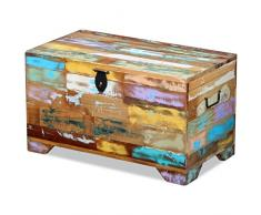 Festnight Retro-Stil Aufbewahrungstruhe Truhenbank Sitztruhe Truhentisch Aufbewahrungsbox aus Recyceltes Massivholz 73 x 39 x 41 cm