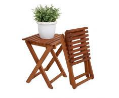 Spetebo Eukalyptus Klapphocker - Blumenhocker Holz Beistelltisch Gartenhocker Holzhocker
