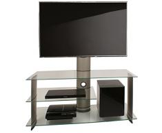 VCM TV Rack Lowboard Konsole Fernsehtisch LCD LED Möbel Glastisch Tisch Schrank Aluminium Silber / Klarglas Bulmo