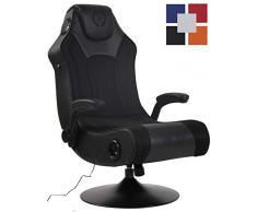 CLP Gaming Soundsessel Nevers Kunstleder I Sessel Mit 2.1-System Für Gaming Und Musik I Drehsessel Mit Bluetooth schwarz/schwarz