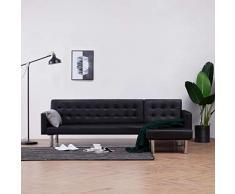 vidaXL Schlafsofa L-Form Couch Sofa Gästebett Bettsofa Schlafcouch Ecksofa Eckcouch Ledersofa Polstersofa Wohnlandschaft Loungesofa Schwarz Kunstleder