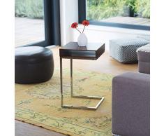 Relaxdays Beistelltisch, Metall, Holz, zum Unterschieben, Ablage, Wohnzimmertisch, Laptoptisch, HxBxT: ca. 61 x 37 x 38cm, natur