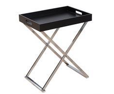 Invicta Interior Funktionaler Beistelltisch Valet Servier Tabletttisch klappbar schwarz Chrom Serviertisch mit integriertem Tablett