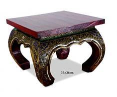 Asiatischer Opiumtisch mit Glasmosaikverzierungen, Beistelltisch aus Massivholz der Marke Asia Wohnstudio, asiatischer Couchtisch, Nachttisch, Massivholz Möbel, (36cm)