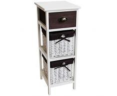 nxtbuy Schubladenschrank aus Holz in Weiß 30 x 35 x 80 cm - Vintage Schränkchen/Korbregal mit 2 Aufbewahrungsboxen und 1 Schublade - Kommodenschrank aus Echtholz