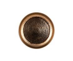 Orientalisches rundes Tablett Schale aus Metall Mia 40cm groß Kupfer | Orient Dekoschale mit hoher Rand | Marokkanisches Serviertablett Rund | Orientalische silberne Deko auf dem gedeckten Tisch