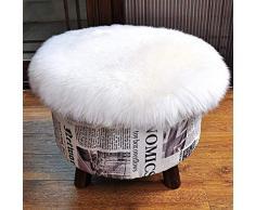 KAIHONG Spitzenqualität Lammfellimitat Teppich, 45 x 45 cm Lammfellimitat Teppich Longhair Fell Optik Nachahmung Wolle Bettvorleger Sofa Matte (Rundes Weiß)