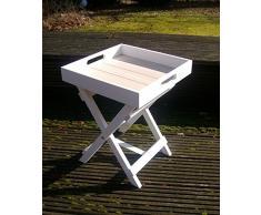 Praktischer Tablett-Tisch, Beistelltisch, Ablagetisch Holz weiss 36 cm