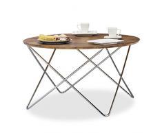 Relaxdays Beistelltisch rund, Couchtisch Vintage Look Holz, Metallgestell, Wohnzimmertisch klein, flach, HxBxT: 50x90x90 cm, natur