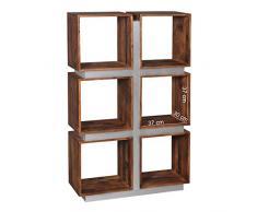 Wohnling Bücherregal GUNA Massivholz Sheesham 135 x 85 x 30 cm, Design Raumteiler mit stilvoller Metallverkleidung, hohes Regal aus Holz im Landhaus-Stil, Regalsystem Natur-Produkt für Wohnzimmer