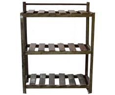 Guru-Shop Rustikales Bücherregal, Massivholz, Kolonialstil, Indien, Mehrfarbig, 106x81x26 cm, Weinregale & Kleine Regale